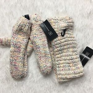 Inc Space Dye Chenille Mittens and head wrap